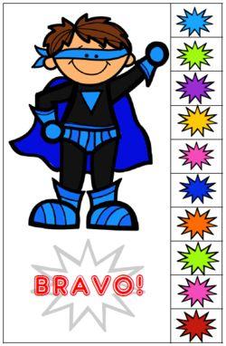 Super-héros : carte de valorisation cahier du jour
