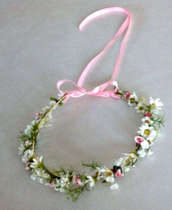 Pink Bridal headpiece Bohemian Rhapsody Flower Crown wild Daisy chainHippie Boho Head wreath Wedding Hair Accessories shabby chic via Etsy