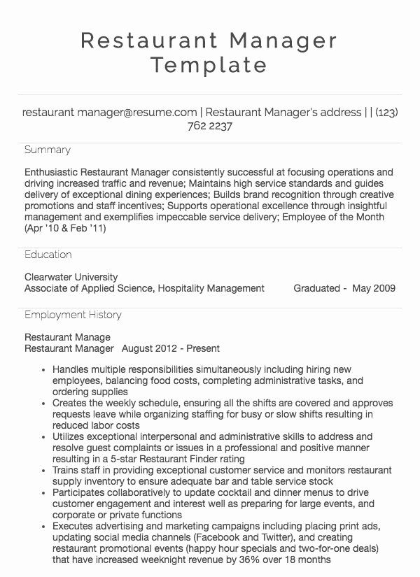 20 food service manager resume in 2020 with images