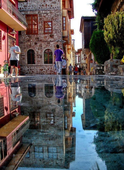 Glass floor in the Old Town of Antalya, Turkey.