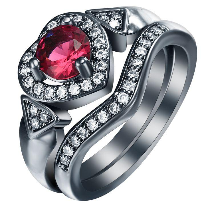 S925Mall New created ruby  black Rings Sets for women Heart jewelry gift elegant princess czech zircon Love Trendy Ring set