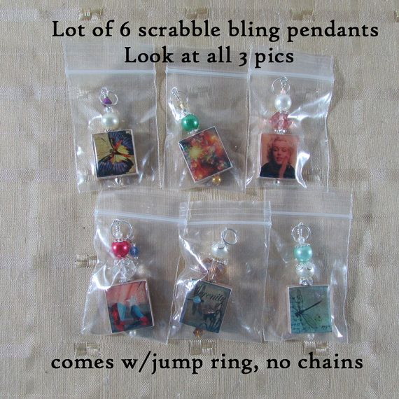 Jewelry  Lot of 6 Scrabble Bling Pendants 5  by MaDGreenCreations