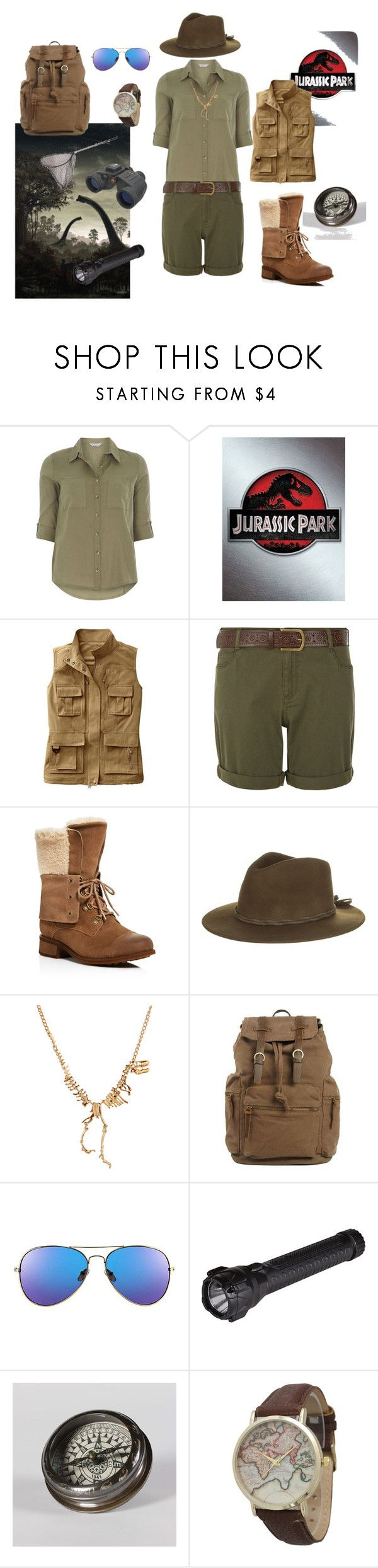 """Jurassic Park Ranger"" by morbidhare on Polyvore featuring Dorothy Perkins, TravelSmith, New Look, UGG, Brixton, Celestron, 5.11 Tactical, Flamant, Geneva and plus size clothing"