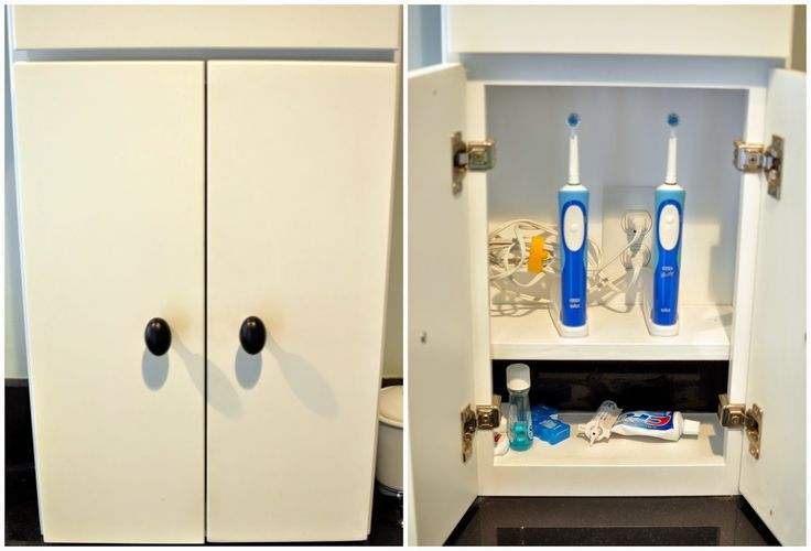 Create a place to hide away your electric toothbrush in the medicine cabinet.  Add an outlet to keep them charged!