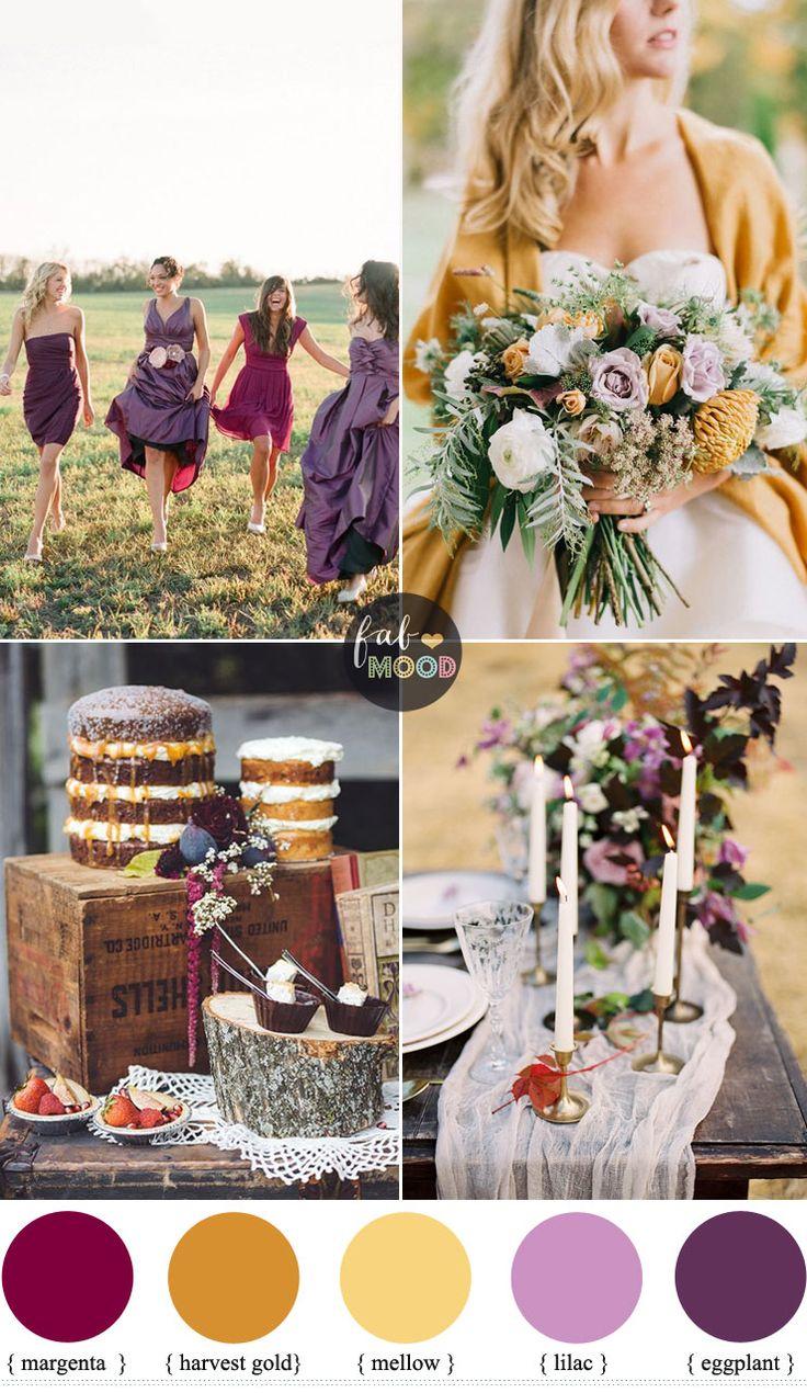 Autumn Wedding Colour Palette { different shades of purple harvest gold ,mellow} Fab Mood #weddingcolors