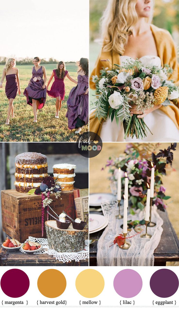Autumn colours wedding theme { different shades of purple + harvest gold ,mellow } Fab Mood #weddingcolors