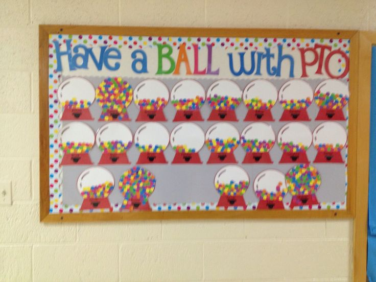 Bulletin Board for the PTO membership drive. Each class' gumball machine gets a gumball added for each PTO membership.