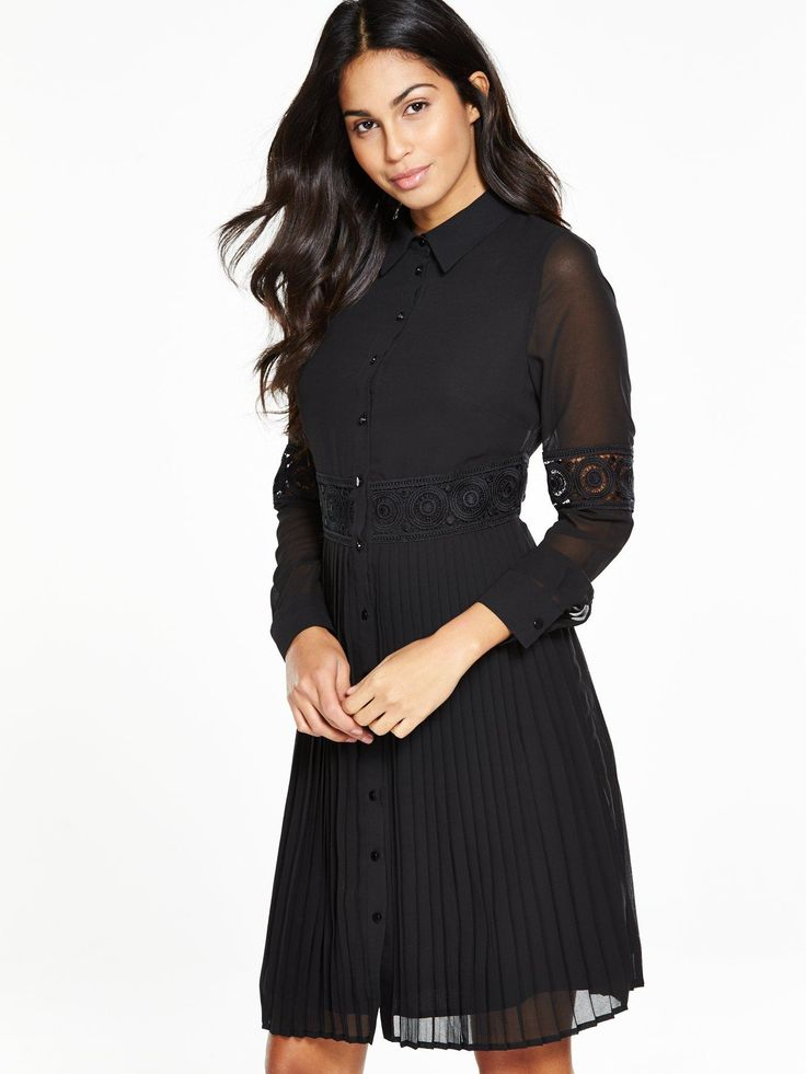 V by Very Lace Insert Pleated Shirt Dress - Black This shirt dress from V by Very is the very definition of sartorial. It nips-in at the waist with a lace insert panel, before cascading to just above the knee in tactile pencil pleats. A button-down front, sheer sleeves and pointed collar enhance its smart, flowy and feminine vibe. Styling Ideas  We love this with a swipe of red lipstick and glossy curls or a slicked-back up-do. Heels? Always!