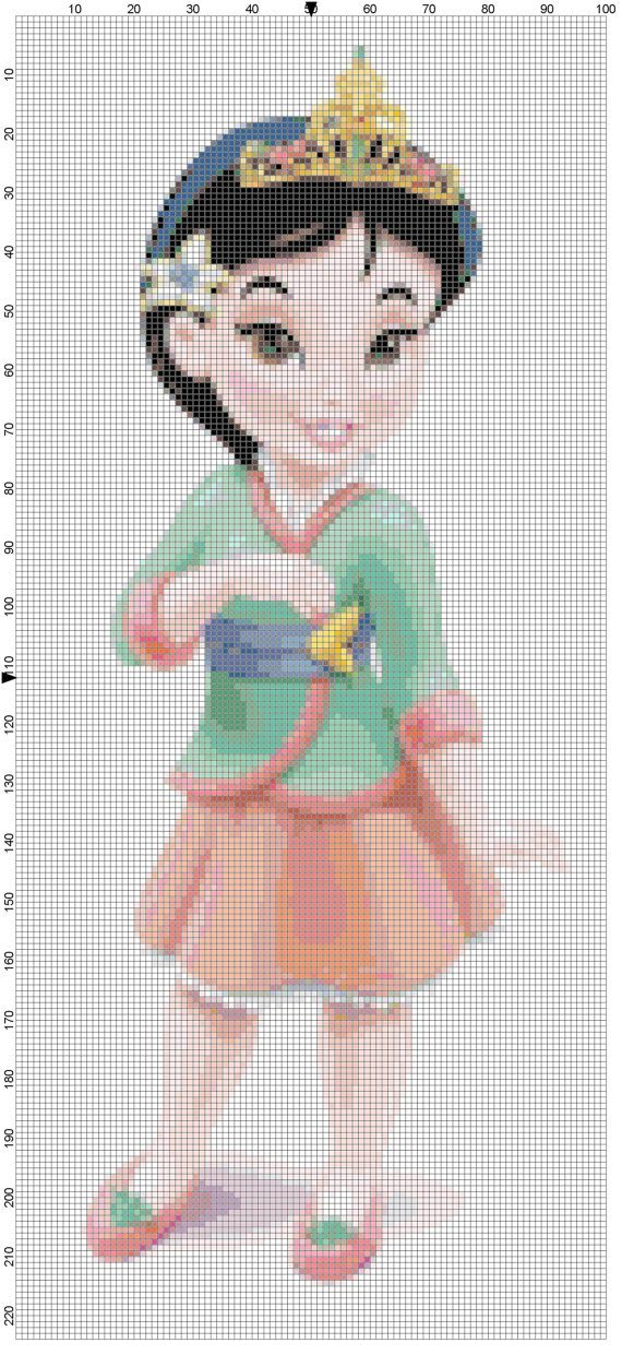 Mini Mulan cross stitch pattern PDF by Bluegiantstitch on Etsy, £1.20