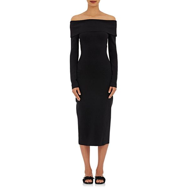 The Row Women's Nania Fitted Dress ($590) ❤ liked on Polyvore featuring dresses, black, tight long sleeve dress, tight dresses, long sleeve dress, the row dresses and off shoulder long sleeve dress