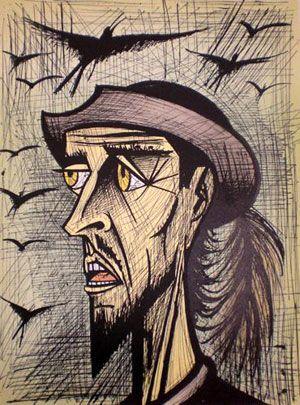 BUFFET Bernard Lithographie Originale Le Hibou