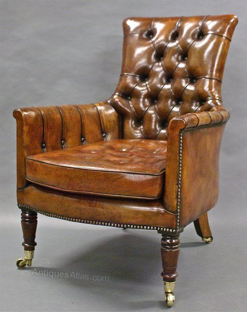 A William IV Rosewood, Leather Upholstered Arm Chair - Antiques Atlas