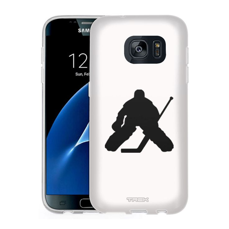 Samsung Galaxy S7 Silhouette Ice Hockey Goalie on White Slim Case