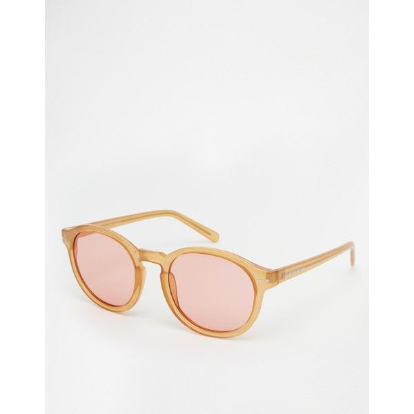 Cheap Monday Round Sunglasses ($20) ❤ liked on Polyvore featuring accessories, eyewear, sunglasses, mustard, nose pads glasses, lightweight glasses, uv protection glasses, round frame glasses and cheap monday glasses