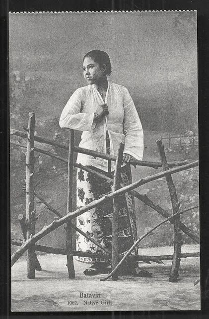 OPOI: Batavia Girl on Batik ~ Java ~ Indonesia ca 1910