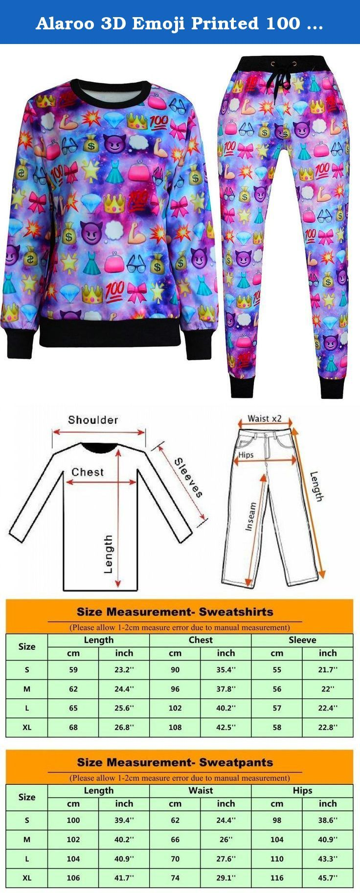 Alaroo 3D Emoji Printed 100 Score Jogger Tracksuit Drawstring for Running S. Description: Gender: women Item Type: Tracksuit (Sweatshirts and Sweatpants) Unit Sweatshirt Weight: 0.77 lb each (350g), Unit Sweatshirt Weight: 0.7 lb each (320g) Type: Pullovers Sleeve Style: Long Sleeve Pattern Type: Emoticon Sleeve Length: Full Collar: O-Neck Color Style: Natural Color Material: Cotton,Polyester,Spandex Type: 3D Harajuku print Style: crewneck.
