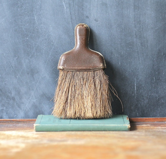 Old Rustic Whisk Broom With Leather Handle by jalopee on Etsy, $14.00