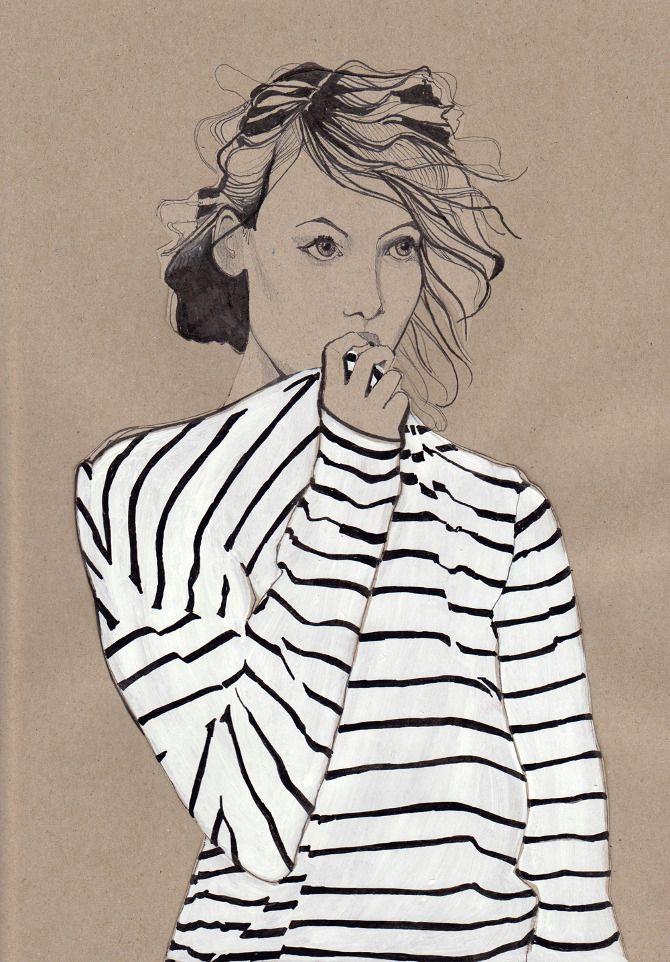daphne van den heuvel stripey drawing: Drawings, Vans Dennings, Shirts, Art, Dennings Heuvel, Strips, Stripes, Fashion Illustrations, Fashionillustr