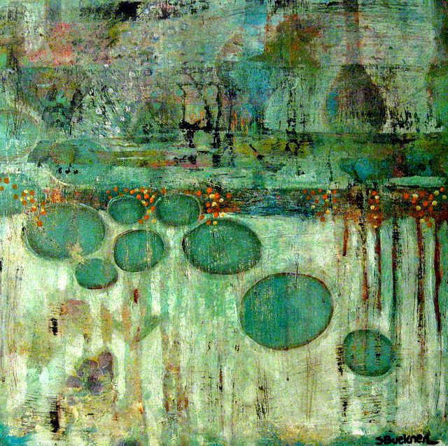 abstract art by Susan Buckner 18 x 18 acrylic on wood http://www.flickr.com/photos/thriftycollageartist/sets/72157625733793074/with/5458102962/ http://www.thriftycollageartist.blogspot.com/ http://thriftycollageartist.blogspot.com/