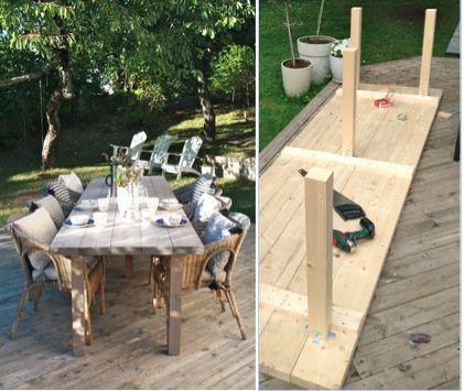 Enkelt bord att bygga själv. Till uteplatsen.