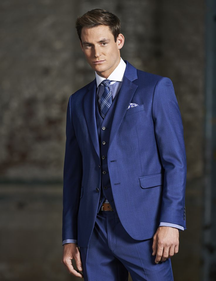 Stvdio by Jeff Banks Blue Pick and Pick Tailored Fit Ivy League Suit