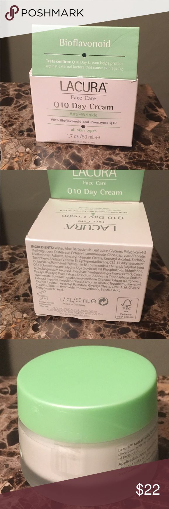 Lavera Anti-Wrinkle Face Day Cream Coenzyme Q10 New and sealed Lacura Face Care Q10 day cream. Cream is anti-wrinkle with bioflavonoid and coenzyme Q10. Size 1.7oz or 50mL. Box is slightly dented. Have had for less than a month in my closet and do not believe that it is expired. There is a stamp on the bottom of the box, see photo. Lacura Makeup