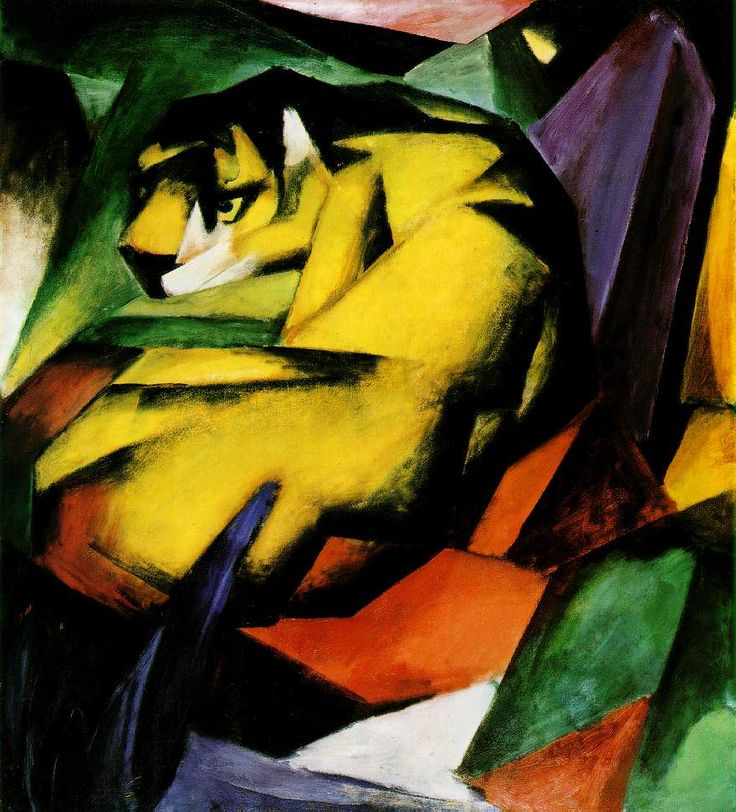 Tiger Artist: Franz Marc Completion Date: 1912 Style: Cubism Genre: wildlife painting Technique: oil Material: canvas Gallery: Städtische Ga...