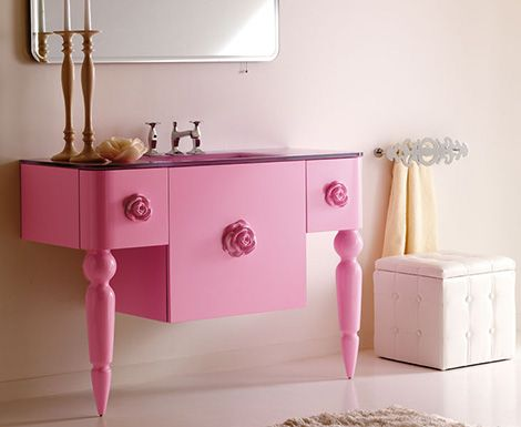 pink and green interiors | Retro Modern Bathroom Pink Furniture Decoration 01