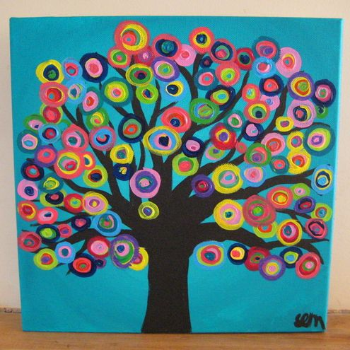 Tree Paintings On Canvas | Turquoise Abstract Circle Tree Painting on Square 12 x 12 Canvas