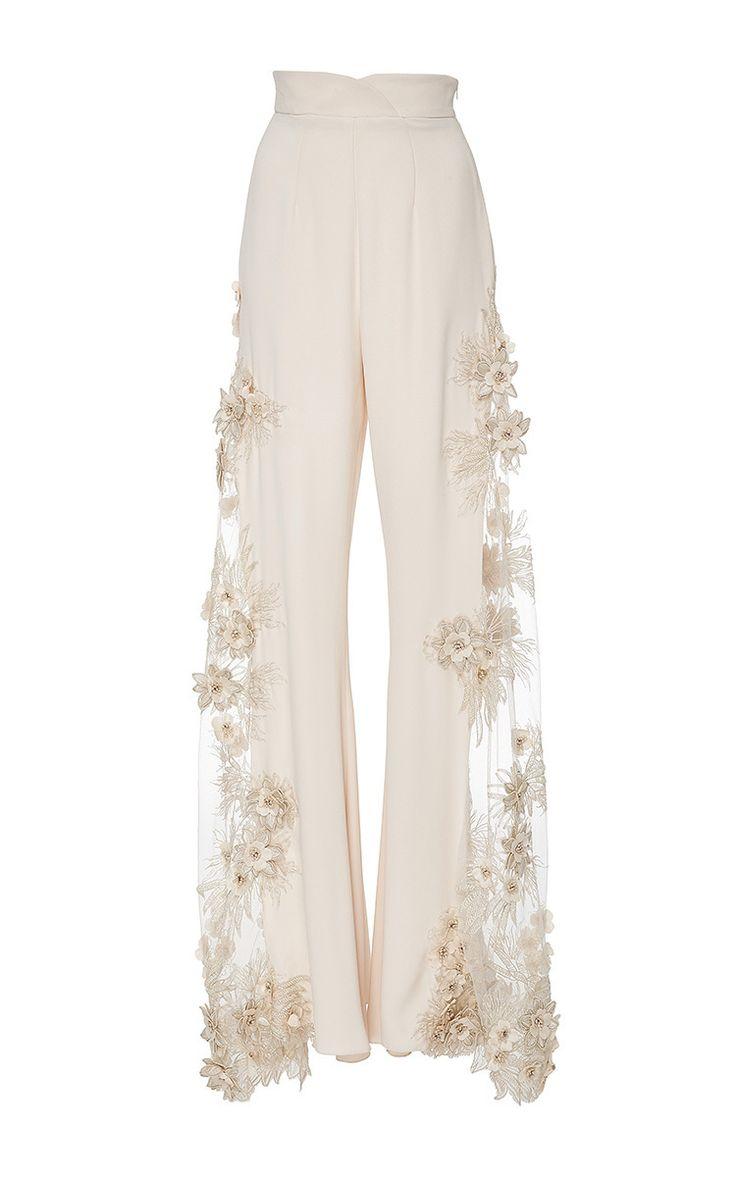 Lana Mueller Malva Embellished Floral Applique Pants