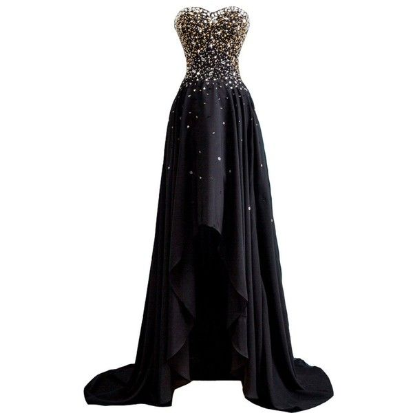Amazon.com: Kivary Women's Beaded High Low Chiffon Formal Prom Dresses... ($100) ❤ liked on Polyvore featuring dresses, gowns, sweetheart neckline prom dress, formal evening dresses, prom gowns, beaded gown and high low dresses