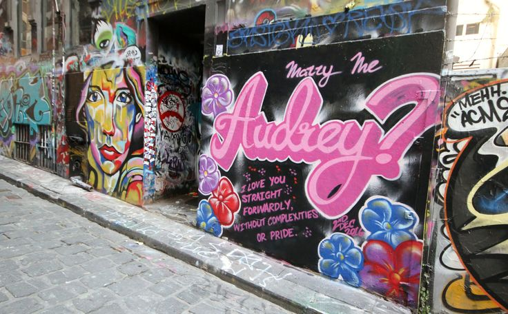 """Marry me Audrey"" - on lactation street art wedding proposal. November 2016. For sales enquires - www.kilproductions.com.au"