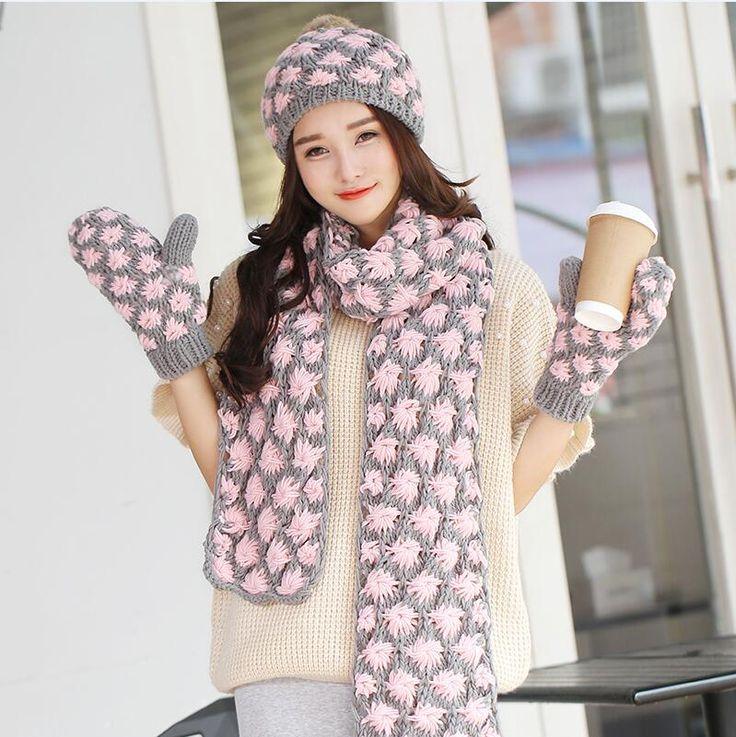 Шляпы шарфы перчатки из трех частей установлены женский зимняя шерсть приток крышка корейский толщиной воротником день рождения рождественский подарок купить на AliExpress