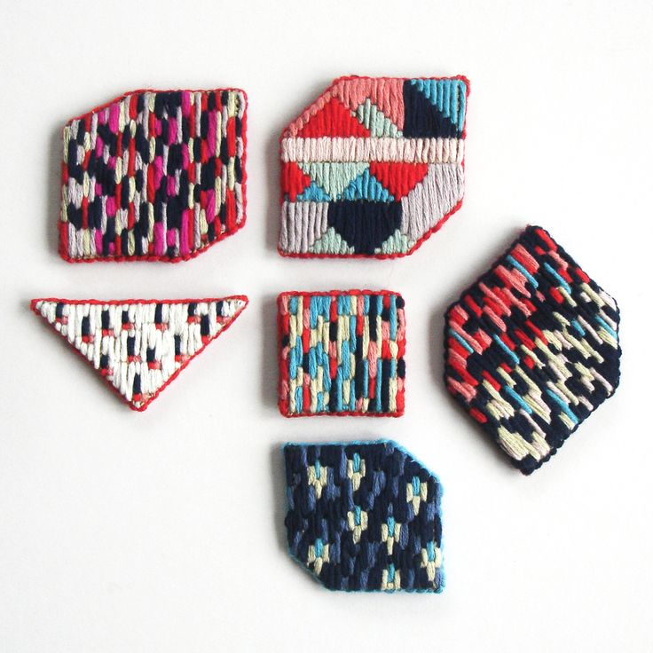 A Alicia Hand Made Accessories — SOLD Hand-embroidered brooch - bright stripes
