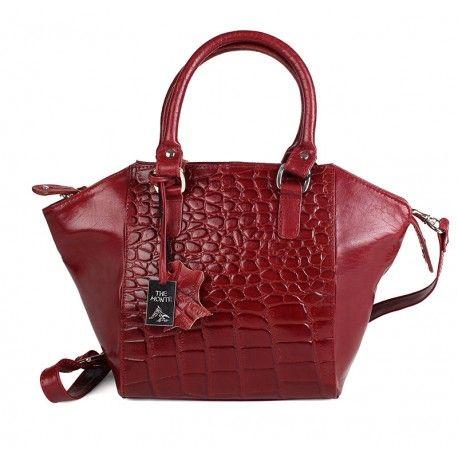 Skøn lille rød dametaske fra The Monte præget kalveskind - 50024 http://www.madamechic.dk/shop/adax-191c1.html