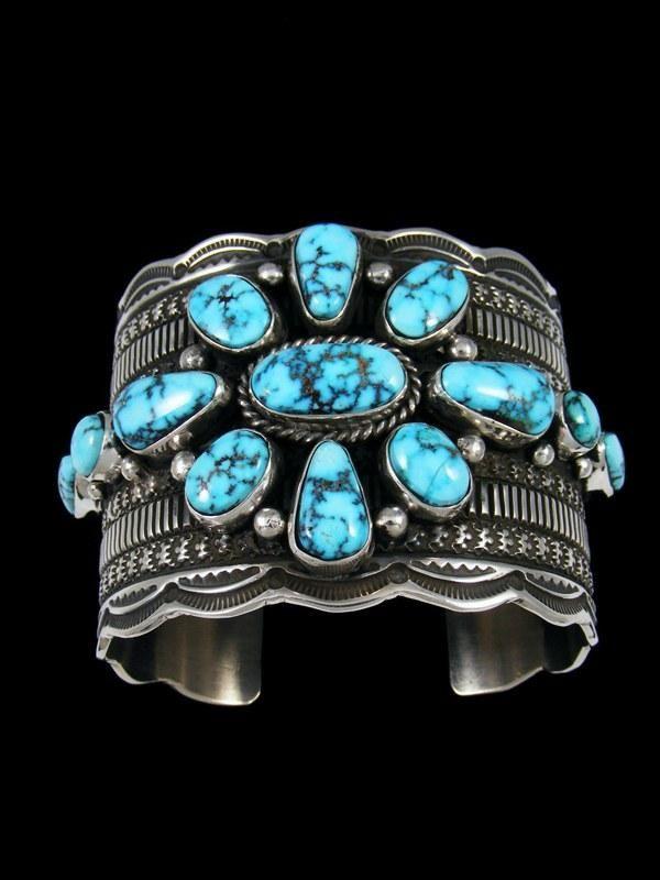 656493beedc Native American Sterling Silver Kingman Turquoise Cuff Bracelet ...