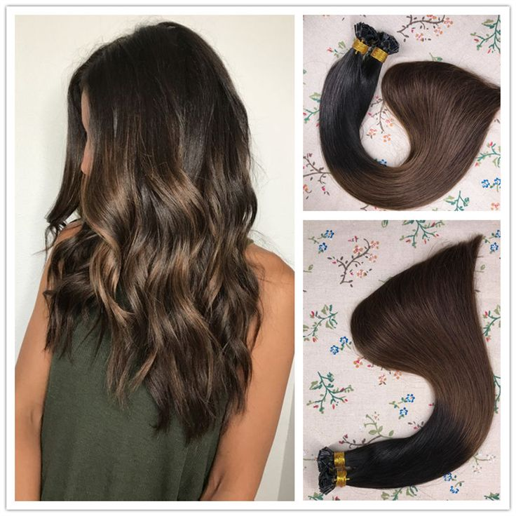 Flat Tip Ombre Pre Bonded Keratin Fusion Remy Human Hair Extensions Off Black To Chocolate Brown #1B/4 1g/S 50g Per Pack