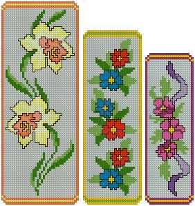 Cross stitch flower bookmarks