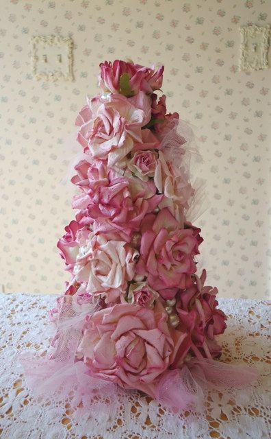 RESERVED for MELANIE Shabby Pink Rose Tree by IllusiveSwan