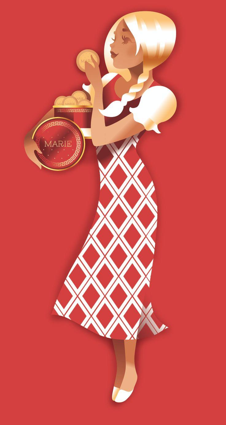 Op igennem tiden er den sprøde smørkiks blevet illustreret og defineret af mange kunstnere og kreative. Her er Marie fortolket af den danske illustrator Mads Berg #karenvolf #mariekiks #historie #danskdesign