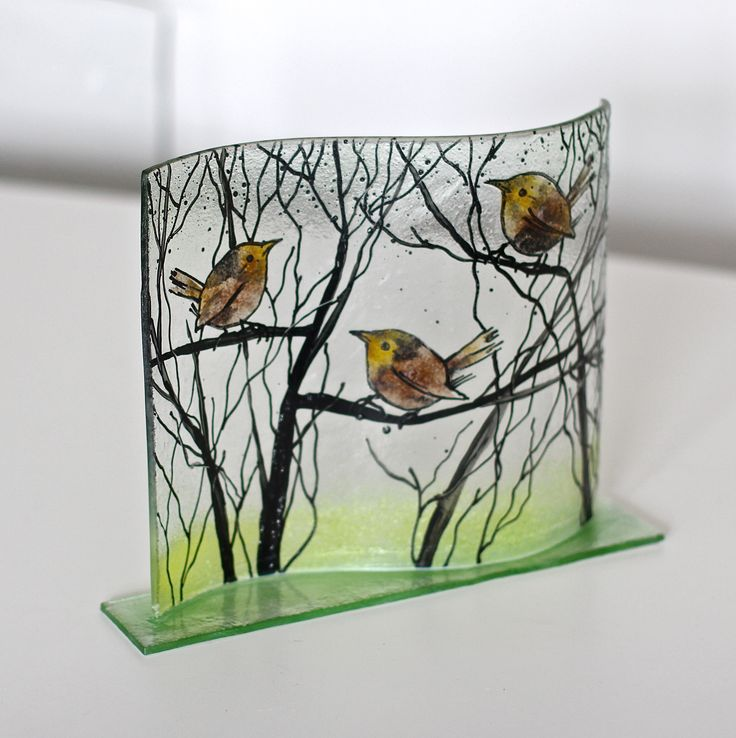 WRENS IN BUSHES 26 X 20 cm