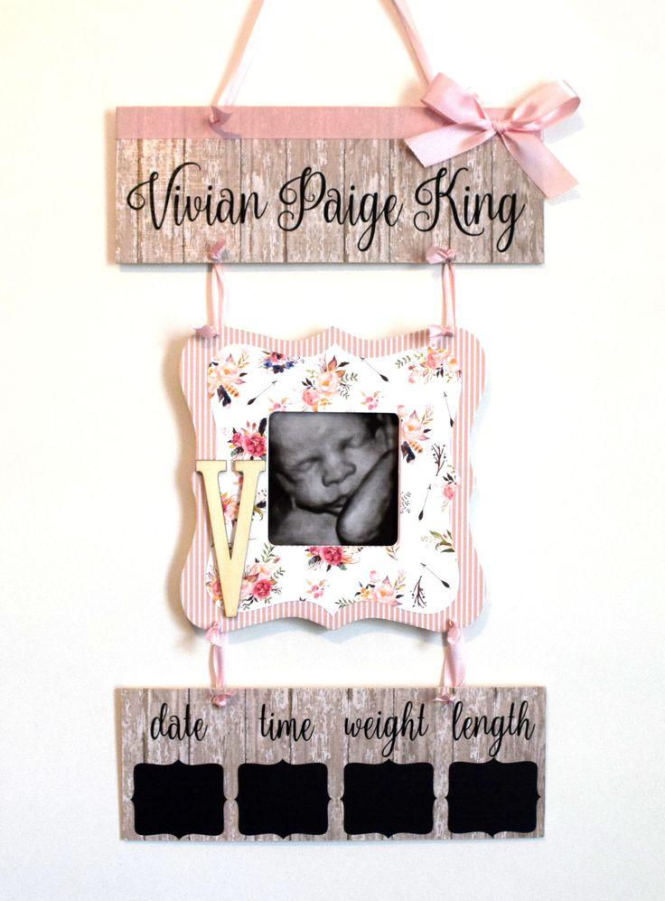 Baby Girl Hospital Door Hanger - Rustic Girl Hospital Door Sign - Girl Hospital Baby Sign - Baby Girl Hospital Birth Stats Sign by OliveYewToo on Etsy