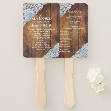rustic country barnwood lace wedding programs hand fan - barn gifts style ideas unique custom