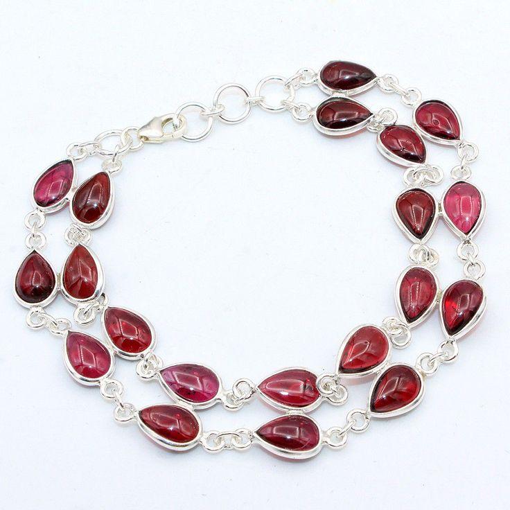 Solid 925 Sterling Silver Jewelry Red Mozambique Garnet Gemstone Bracelet #Handmade #Bracelet #Birthday