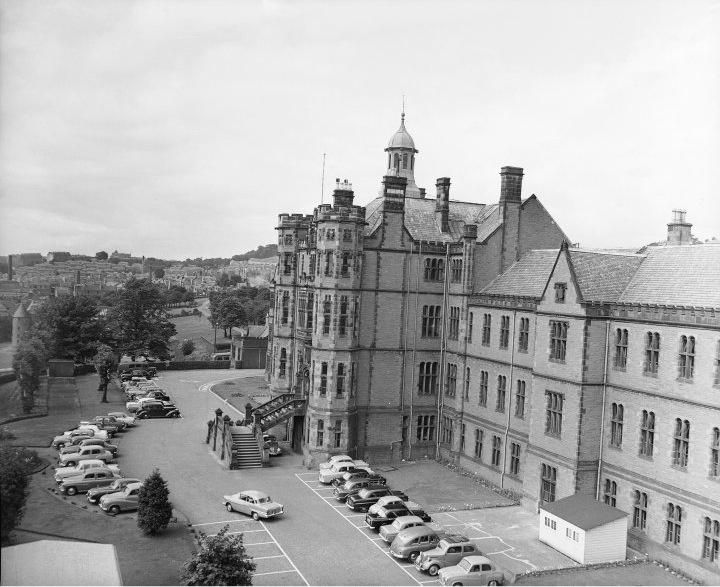 Frontage of DRI, probably 1960s. Wards 2, 5, and 9 nearest (from ground floor upwards)