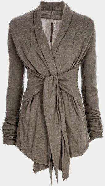 Gray Light Weight Wrap Up Cardigan...I can see taking a cardigan and cutting an artsy scarf in half and adding the ties....hmm!