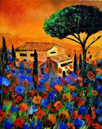 Tuscany Painting: Originals Oil, Artists Pol, Canvas Stretch, Artists Ledent, Tuscany 452150, Ledent Art, Fine Art, Pol Ledent, Painting