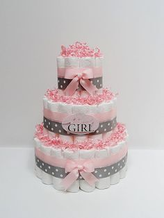 3 Tier Baby Girl Pink And Gray Diaper Cake Baby Shower Centerpiece