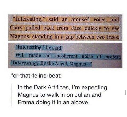 YEEEESS<<it is always Magnus walking in on them.. Except maybe in shadowhunter academy when Simon walked in on Magnus and Alec