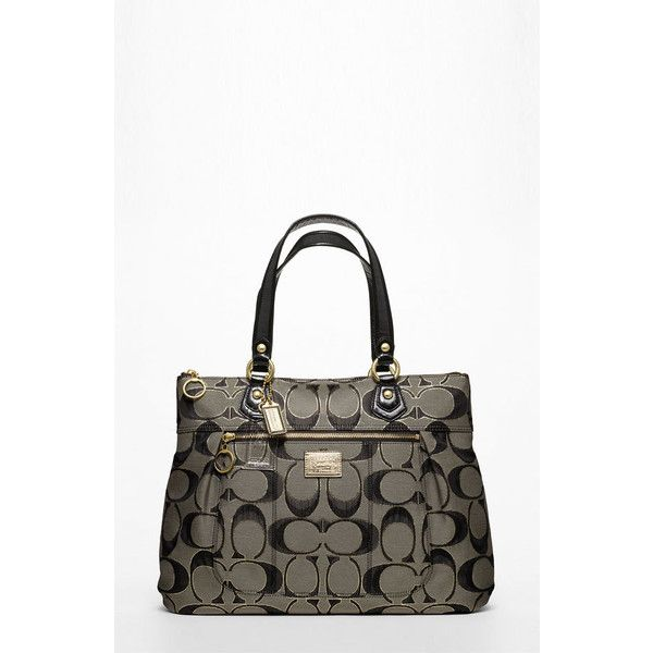 Coach Poppy Metallic Signature Glam Tote ($228) ❤ liked on Polyvore featuring bags, handbags, tote bags, zip top tote bags, coach tote bags, zip top tote, zippered tote bag and pocket purse